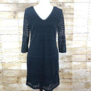 Scotch & Soda Black Lace 3/5 Sleeve Dress SZ 1